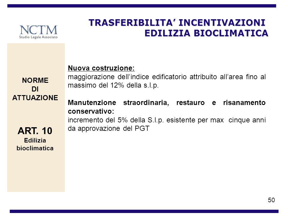 50 TRASFERIBILITA INCENTIVAZIONI EDILIZIA BIOCLIMATICA NORME DI ATTUAZIONE ART. 10 Edilizia bioclimatica Nuova costruzione: maggiorazione dellindice e