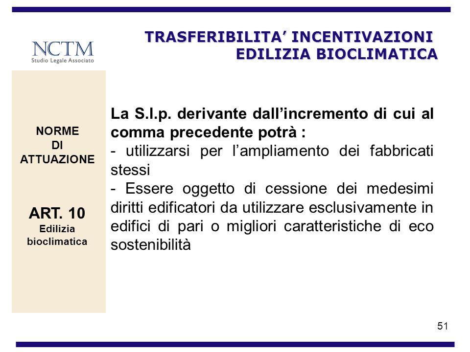 51 TRASFERIBILITA INCENTIVAZIONI EDILIZIA BIOCLIMATICA NORME DI ATTUAZIONE ART. 10 Edilizia bioclimatica La S.l.p. derivante dallincremento di cui al