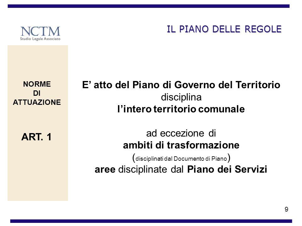 9 IL PIANO DELLE REGOLE E atto del Piano di Governo del Territorio disciplina lintero territorio comunale ad eccezione di ambiti di trasformazione ( d