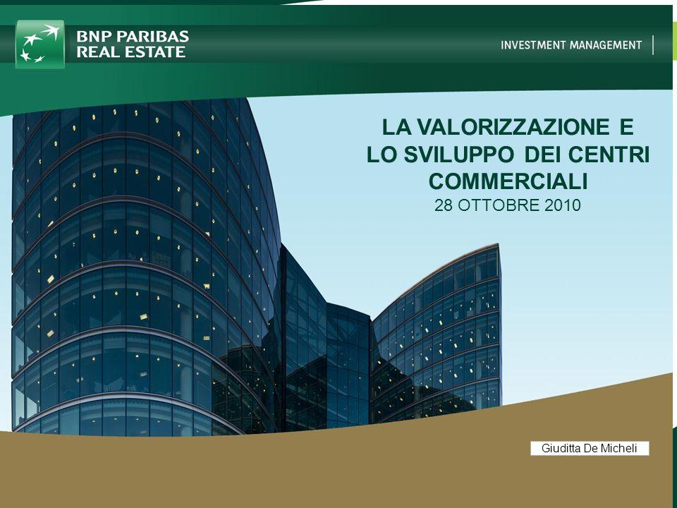 2 BUSINESS LINE NAME – 00/00/00 2 Giuditta De Micheli INVESTIRE NEL MERCATO DEGLI IMMOBILI COMMERCIALI: IL PUNTO DI VISTA DELLINVESTITORE -I CRITERI PER LA VALUTAZIONE DELLA REDDITIVITA DEI CENTRI COMMERCIALI - LA VALORIZZAZIONE DEI CENTRI COMMERCIALI ESISTENTI - LE POTENZIALITA DEI FONDI IMMOBILIARI PER LO SVILUPPO DEI CENTRI COMMERCIALI