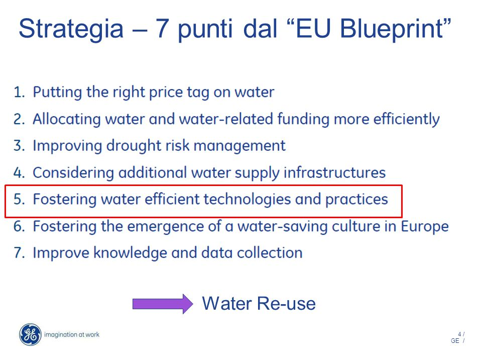 4 / GE / Strategia – 7 punti dal EU Blueprint Water Re-use