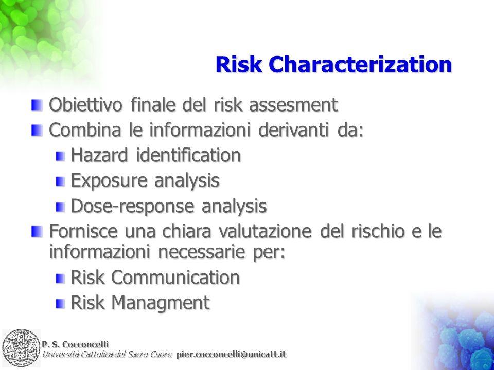 P. S. Cocconcelli Università Cattolica del Sacro Cuore pier.cocconcelli@unicatt.it Risk Characterization Obiettivo finale del risk assesment Combina l