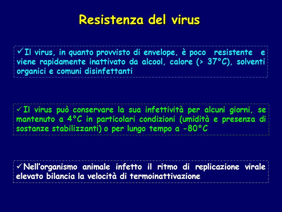 Il virus, in quanto provvisto di envelope, è poco resistente e viene rapidamente inattivato da alcool, calore (> 37°C), solventi organici e comuni dis