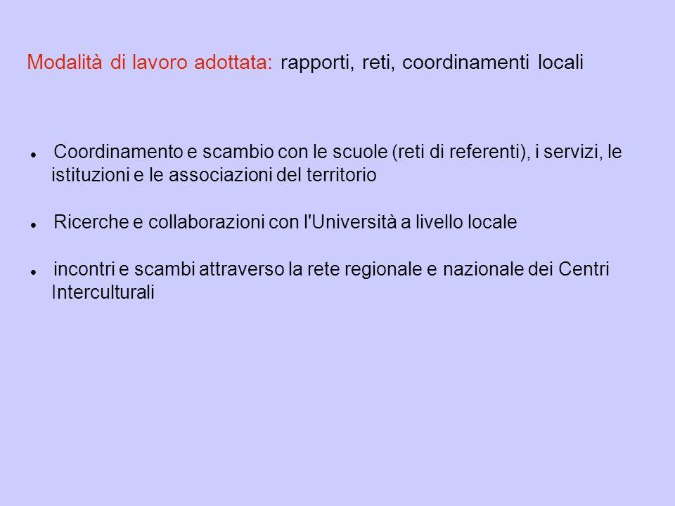 Modalità di lavoro adottata: rapporti, reti, coordinamenti locali Coordinamento e scambio con le scuole (reti di referenti), i servizi, le istituzioni