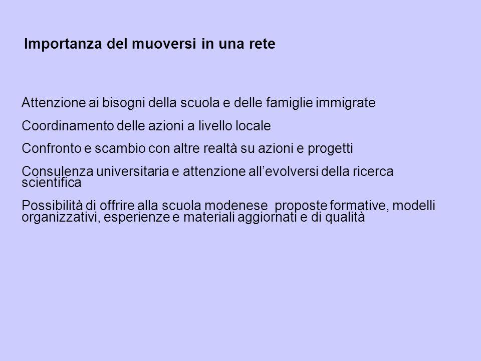 Importanza del muoversi in una rete Attenzione ai bisogni della scuola e delle famiglie immigrate Coordinamento delle azioni a livello locale Confront