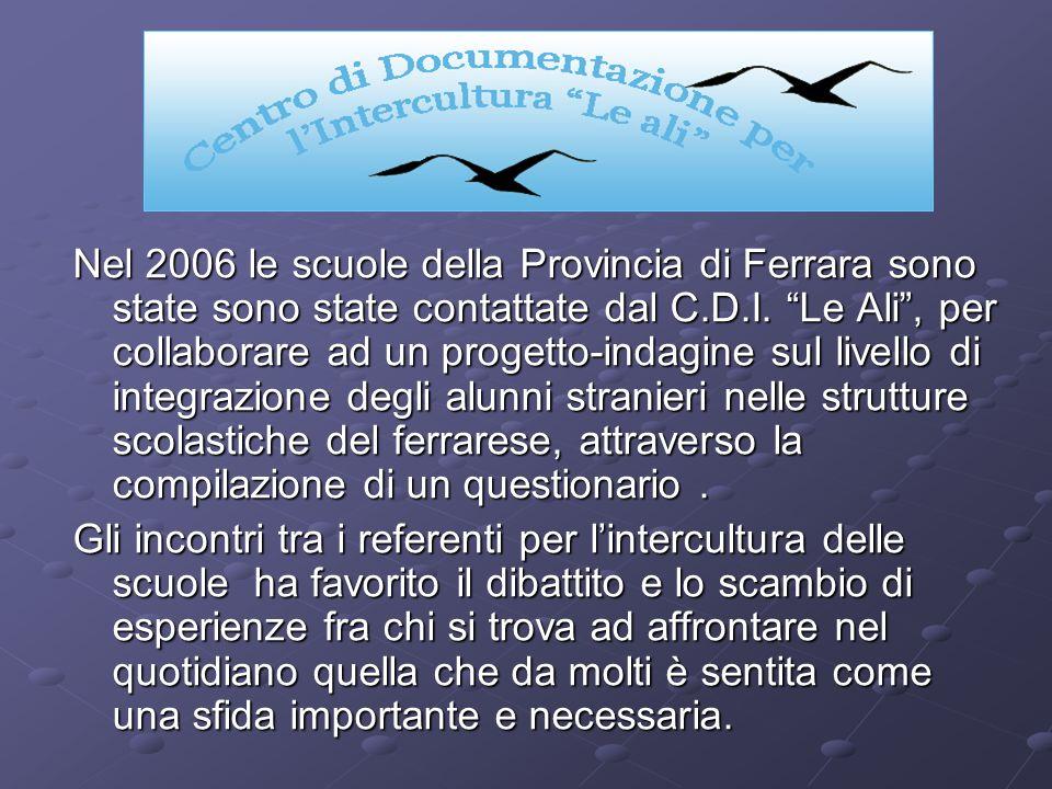 Nel 2006 le scuole della Provincia di Ferrara sono state sono state contattate dal C.D.I. Le Ali, per collaborare ad un progetto-indagine sul livello