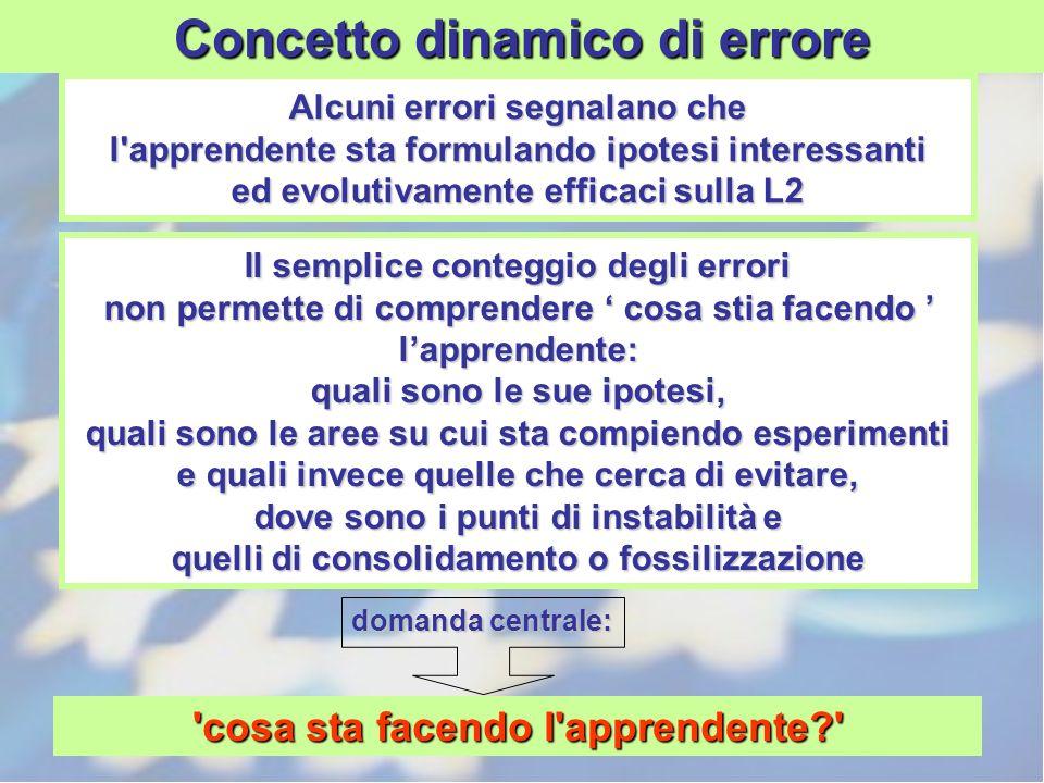 Alcuni errori segnalano che l'apprendente sta formulando ipotesi interessanti ed evolutivamente efficaci sulla L2 Il semplice conteggio degli errori n