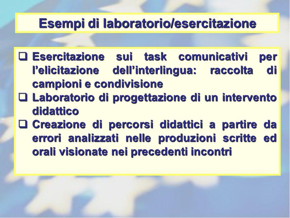 Esempi di laboratorio/esercitazione Esercitazione sui task comunicativi per lelicitazione dellinterlingua: raccolta di campioni e condivisione Esercit