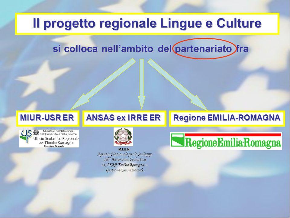 Il progetto regionale Lingue e Culture si colloca nellambito del partenariato fra MIUR-USR ER ANSAS ex IRRE ER Regione EMILIA-ROMAGNA M.I.U.R. Agenzia