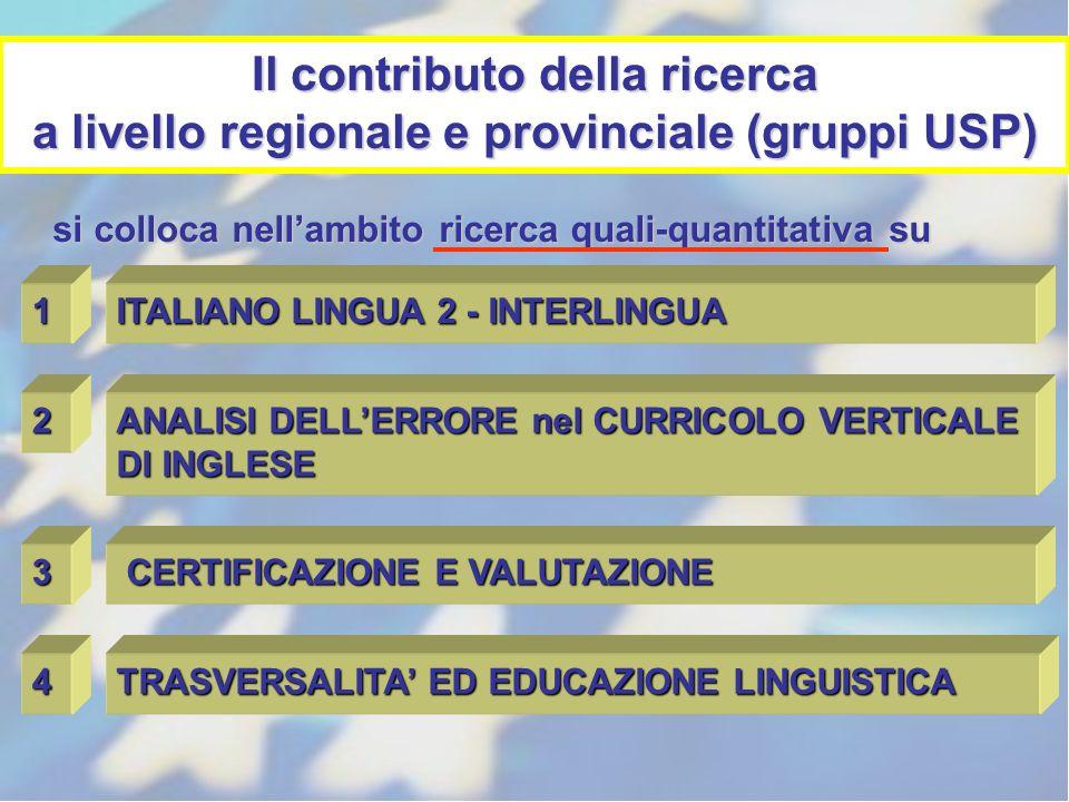 Il contributo della ricerca a livello regionale e provinciale (gruppi USP) 1 ITALIANO LINGUA 2 - INTERLINGUA 2 ANALISI DELLERRORE nel CURRICOLO VERTIC