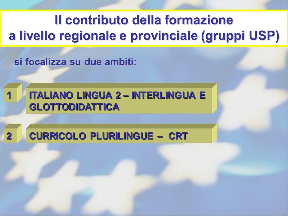 Il contributo della formazione a livello regionale e provinciale (gruppi USP) 1 ITALIANO LINGUA 2 – INTERLINGUA E GLOTTODIDATTICA 2 CURRICOLO PLURILIN