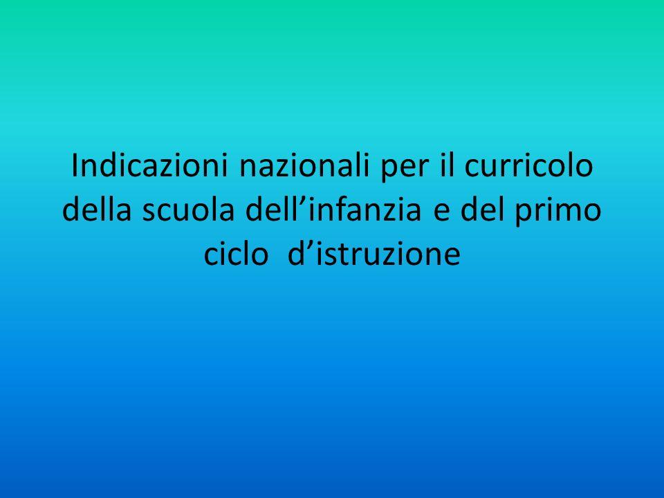 Indicazioni nazionali per il curricolo della scuola dellinfanzia e del primo ciclo distruzione