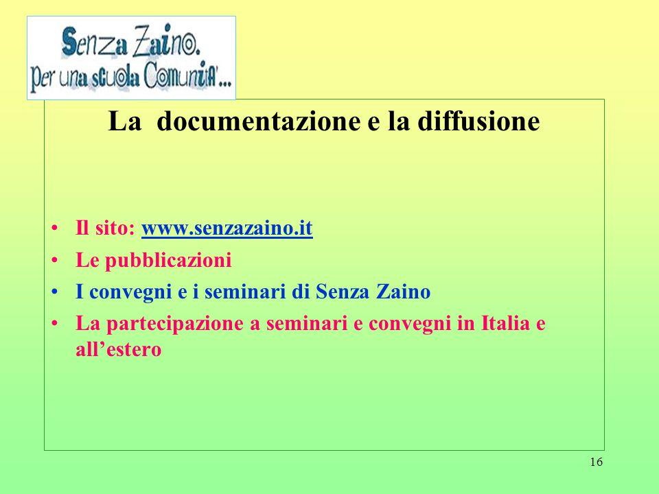 16 La documentazione e la diffusione Il sito: www.senzazaino.itwww.senzazaino.it Le pubblicazioni I convegni e i seminari di Senza Zaino La partecipaz