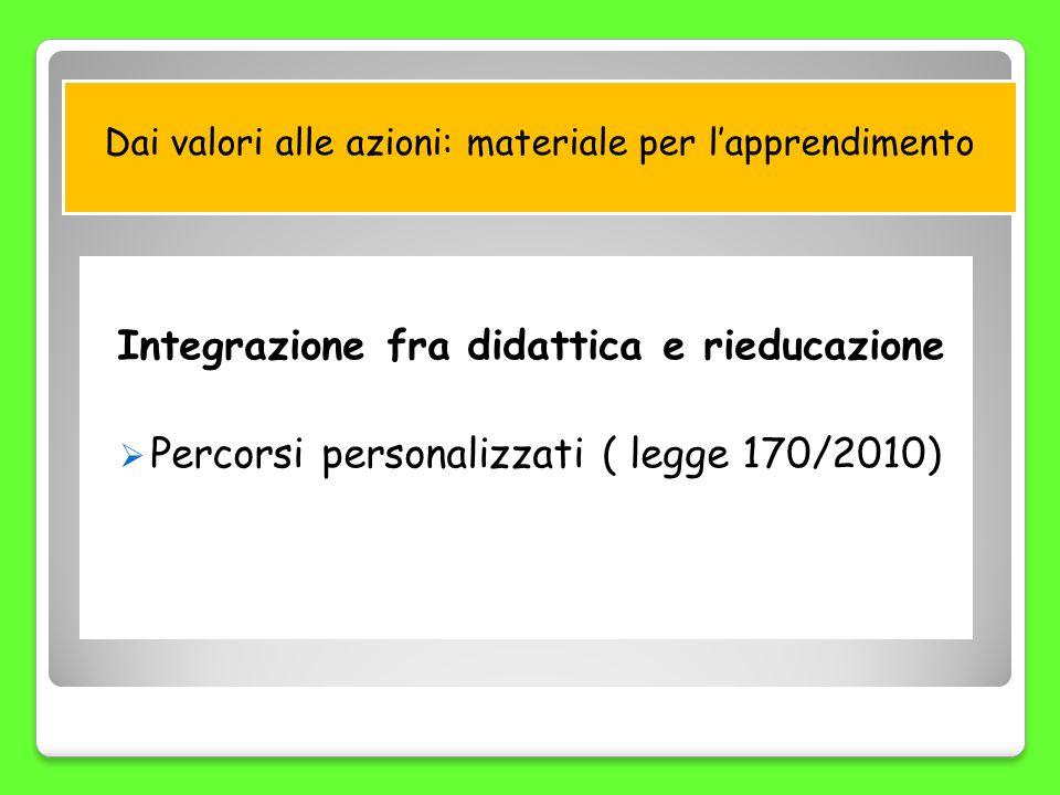 Dai valori alle azioni: materiale per lapprendimento Integrazione fra didattica e rieducazione Percorsi personalizzati ( legge 170/2010)