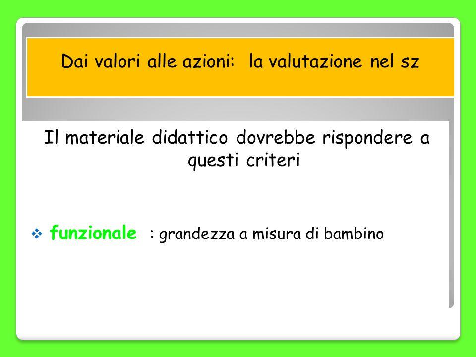 Dai valori alle azioni: la valutazione nel sz Il materiale didattico dovrebbe rispondere a questi criteri funzionale : grandezza a misura di bambino