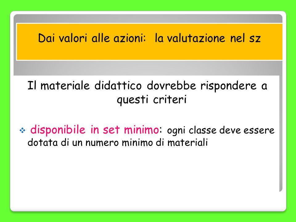 Il materiale didattico dovrebbe rispondere a questi criteri disponibile in set minimo: ogni classe deve essere dotata di un numero minimo di materiali