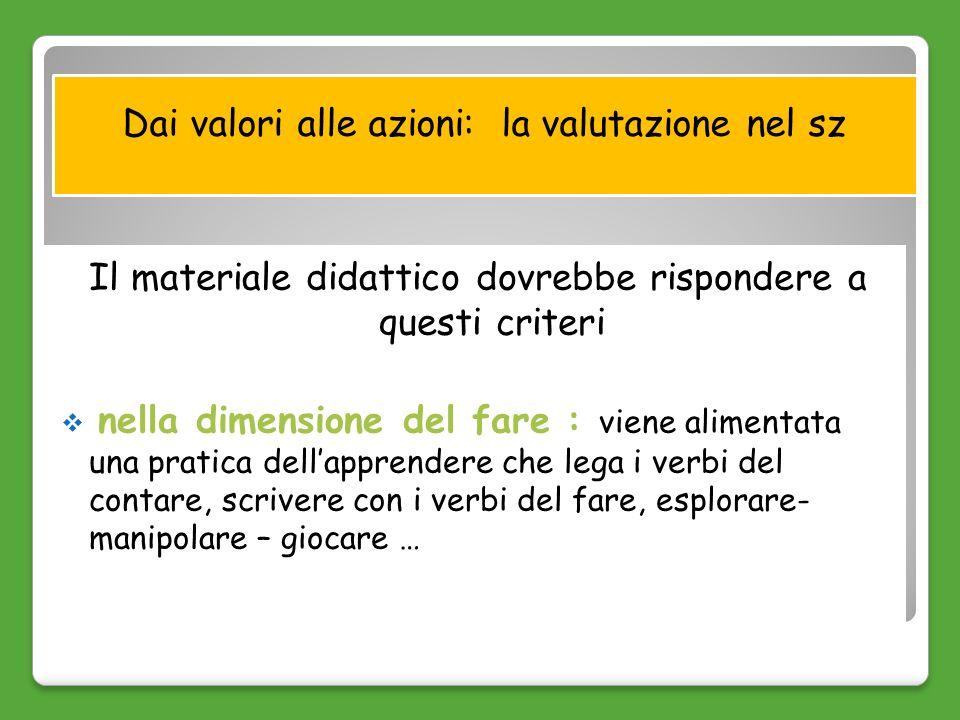 Dai valori alle azioni: la valutazione nel sz Il materiale didattico dovrebbe rispondere a questi criteri nella dimensione del fare : viene alimentata