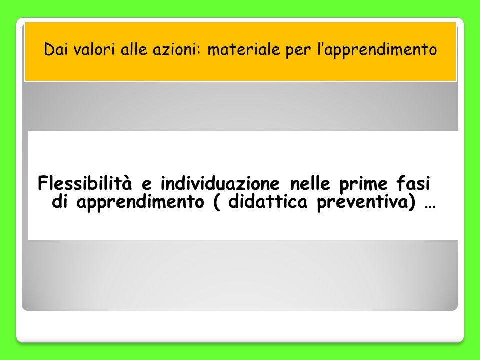 Dai valori alle azioni: materiale per lapprendimento Flessibilità e individuazione nelle prime fasi di apprendimento ( didattica preventiva) …
