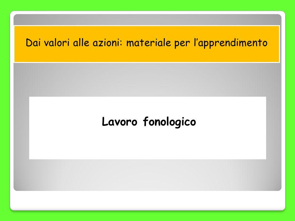 Dai valori alle azioni: materiale per lapprendimento Lavoro fonologico