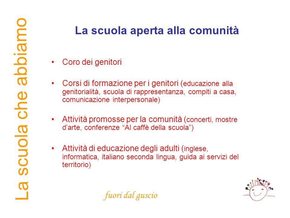 La scuola che abbiamo La scuola aperta alla comunità Coro dei genitori Corsi di formazione per i genitori ( educazione alla genitorialità, scuola di r