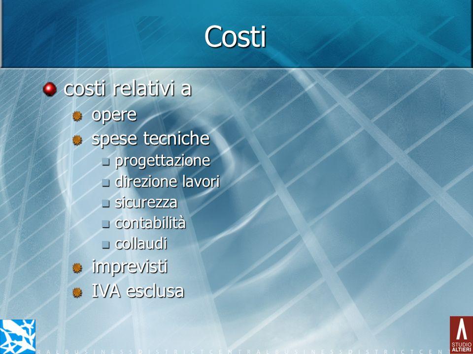 Costi costi relativi a opere spese tecniche progettazione progettazione direzione lavori direzione lavori sicurezza sicurezza contabilità contabilità
