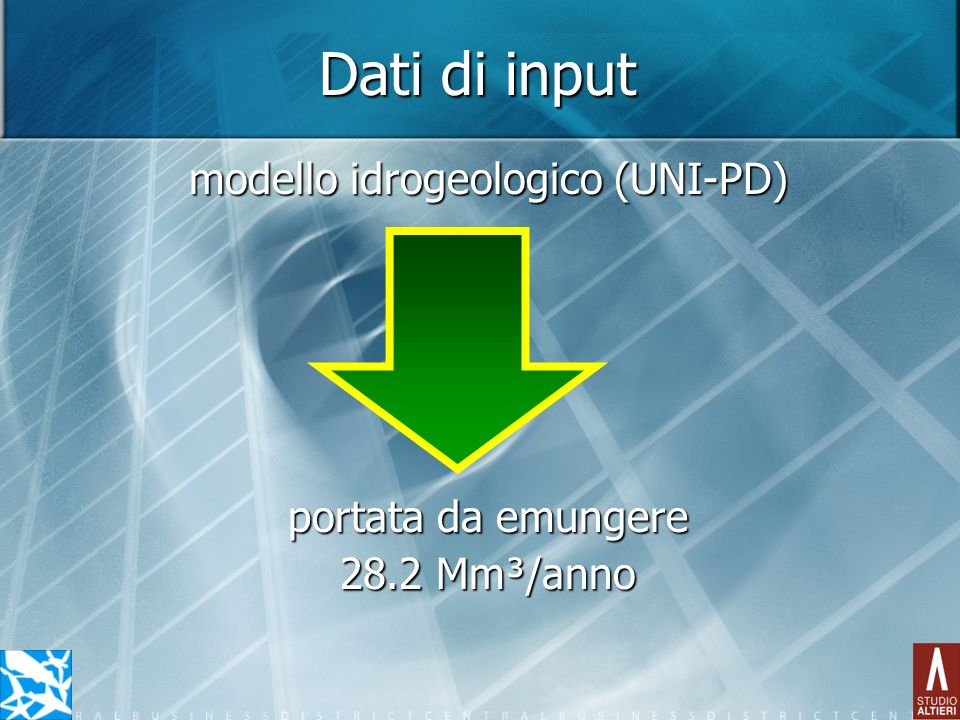Dati di input modello idrogeologico (UNI-PD) portata da emungere 28.2 Mm³/anno