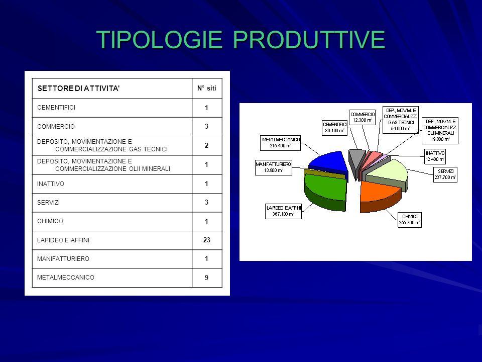 DISTRIBUZIONE DELLE TIPOLOGIE PRODUTTIVE NELLAREA INVESTIGATA