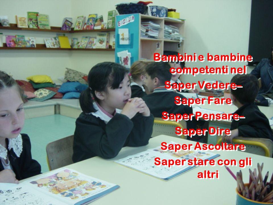 Bambini e bambine competenti nel Saper Vedere– Saper Fare Saper Pensare– Saper Dire Saper Ascoltare Saper stare con gli altri Bambini e bambine compet
