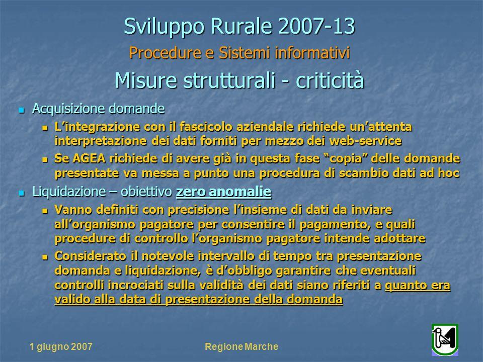 1 giugno 2007Regione Marche Sviluppo Rurale 2007-13 Procedure e Sistemi informativi Misure strutturali - criticità Acquisizione domande Acquisizione d