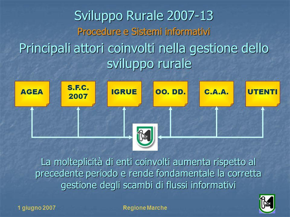 1 giugno 2007Regione Marche Sviluppo Rurale 2007-13 Procedure e Sistemi informativi Principali attori coinvolti nella gestione dello sviluppo rurale L