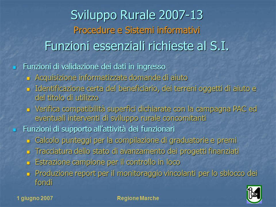 1 giugno 2007Regione Marche Sviluppo Rurale 2007-13 Procedure e Sistemi informativi Funzioni essenziali richieste al S.I. Funzioni di validazione dei