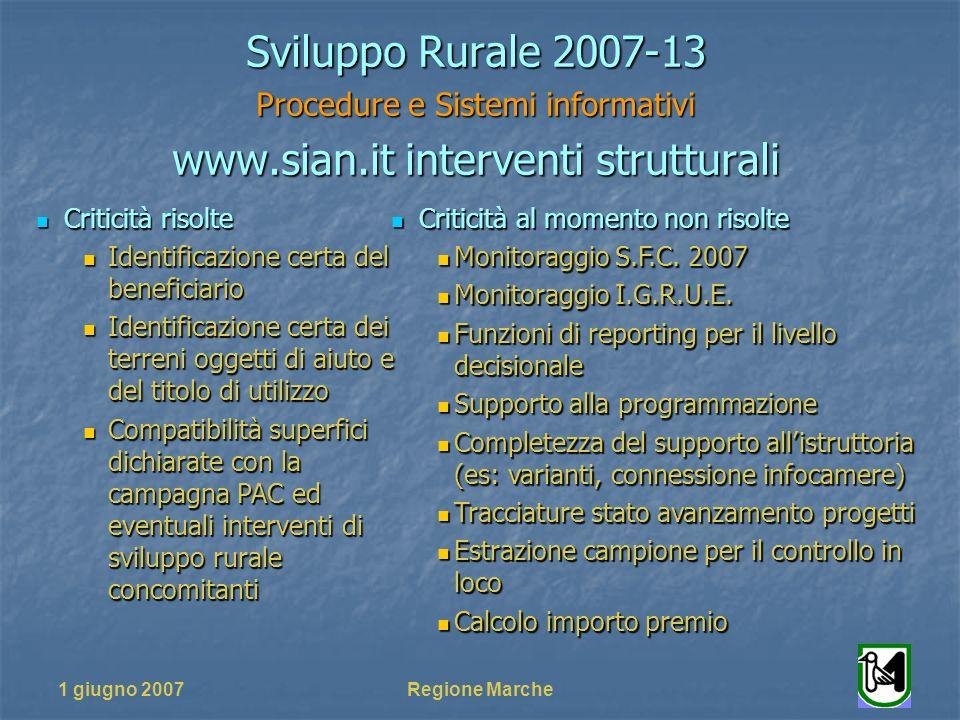 1 giugno 2007Regione Marche Sviluppo Rurale 2007-13 Procedure e Sistemi informativi www.sian.it interventi strutturali Criticità al momento non risolte Criticità al momento non risolte Monitoraggio S.F.C.