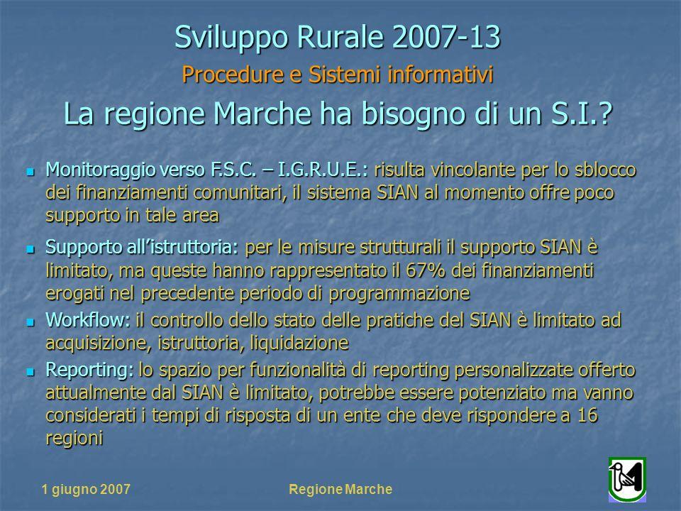 1 giugno 2007Regione Marche Sviluppo Rurale 2007-13 Procedure e Sistemi informativi La regione Marche ha bisogno di un S.I.? Monitoraggio verso F.S.C.