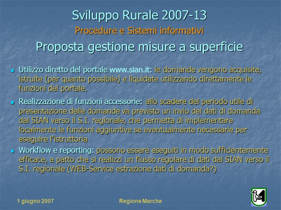 1 giugno 2007Regione Marche Sviluppo Rurale 2007-13 Procedure e Sistemi informativi Proposta gestione misure a superficie Utilizzo diretto del portale