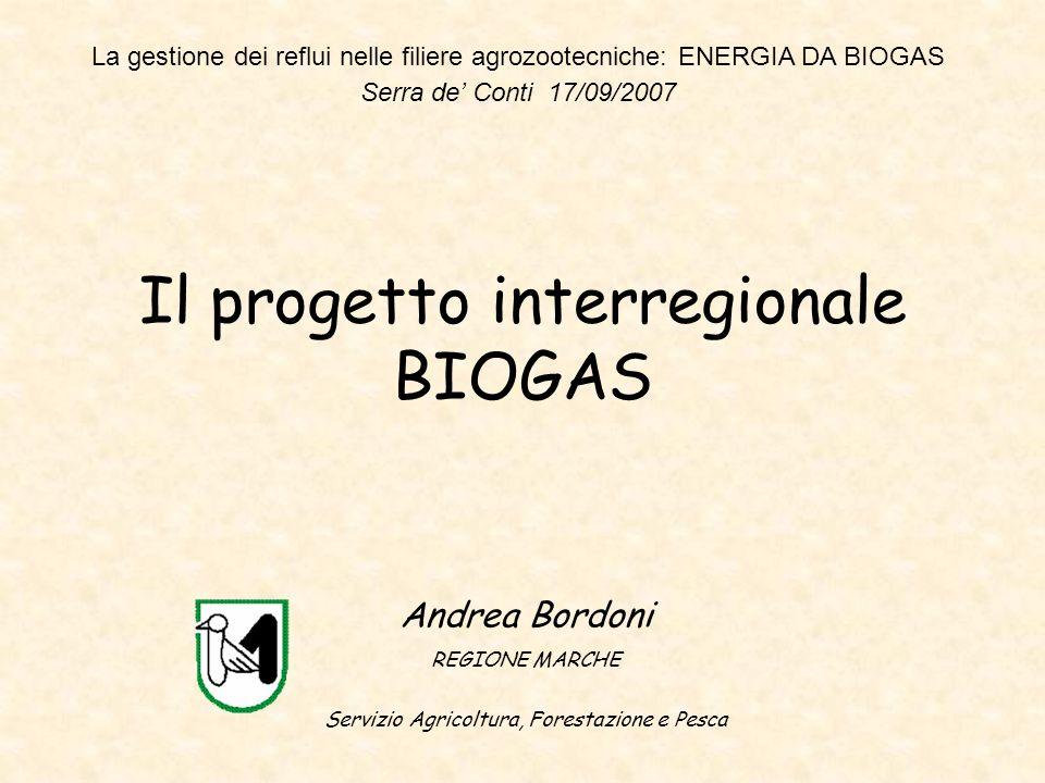 Il progetto interregionale BIOGAS Andrea Bordoni REGIONE MARCHE Servizio Agricoltura, Forestazione e Pesca La gestione dei reflui nelle filiere agrozo