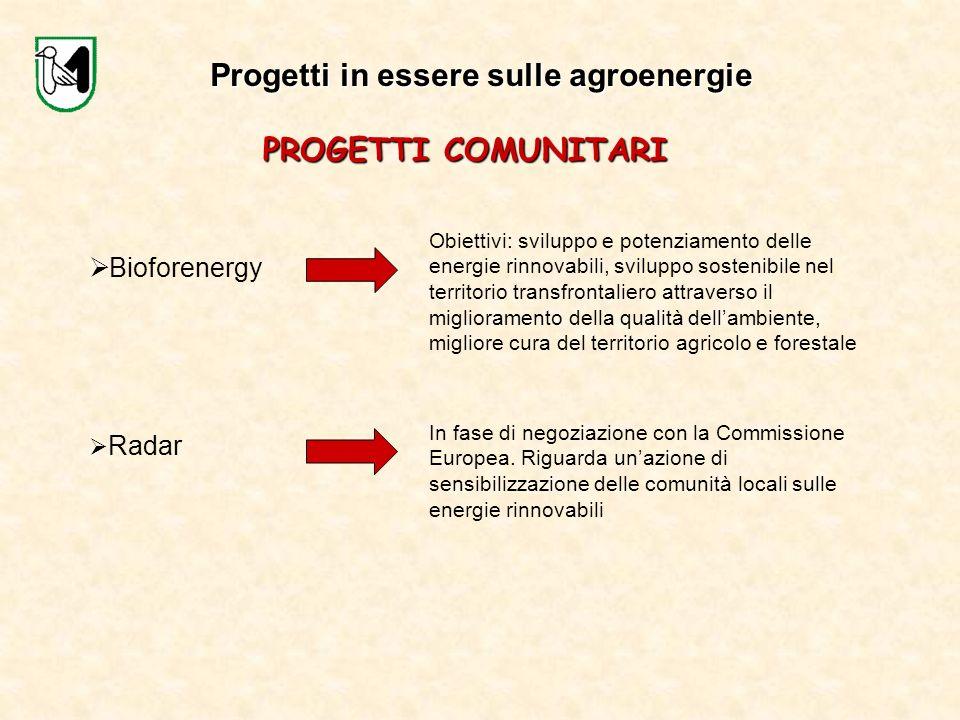 Progetti in essere sulle agroenergie PROGETTI COMUNITARI Bioforenergy Obiettivi: sviluppo e potenziamento delle energie rinnovabili, sviluppo sostenib