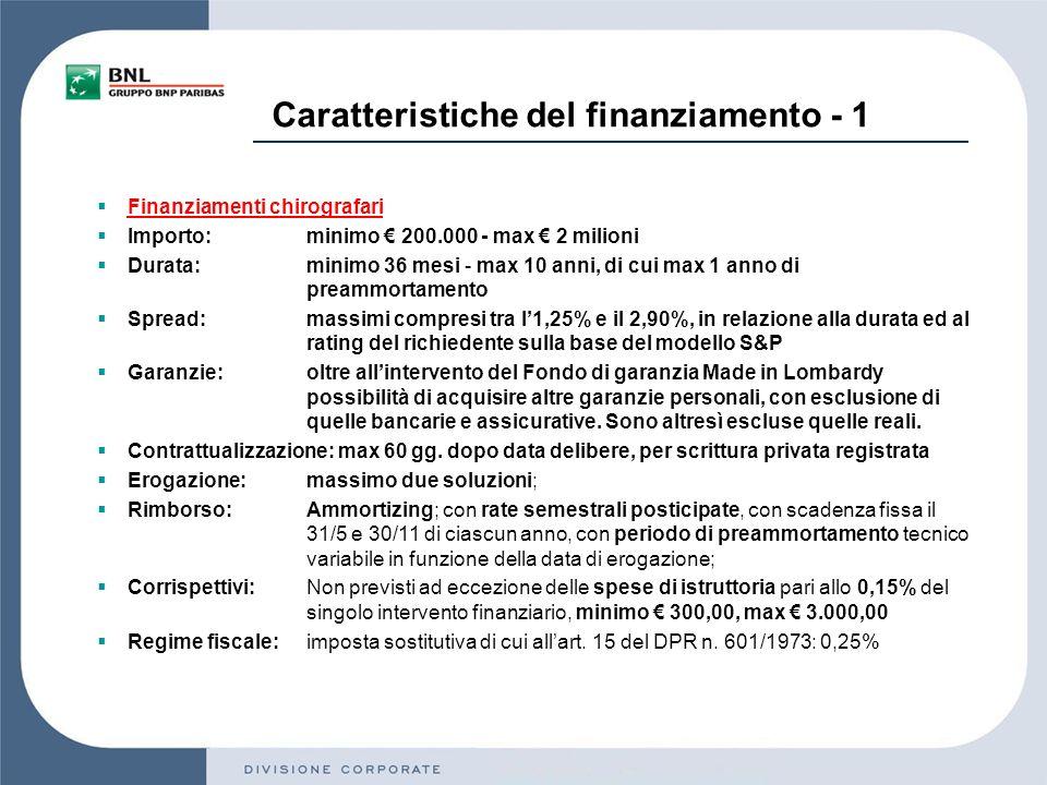 Caratteristiche del finanziamento - 1 Finanziamenti chirografari Importo:minimo 200.000 - max 2 milioni Durata: minimo 36 mesi - max 10 anni, di cui max 1 anno di preammortamento Spread:massimi compresi tra l1,25% e il 2,90%, in relazione alla durata ed al rating del richiedente sulla base del modello S&P Garanzie:oltre allintervento del Fondo di garanzia Made in Lombardy possibilità di acquisire altre garanzie personali, con esclusione di quelle bancarie e assicurative.