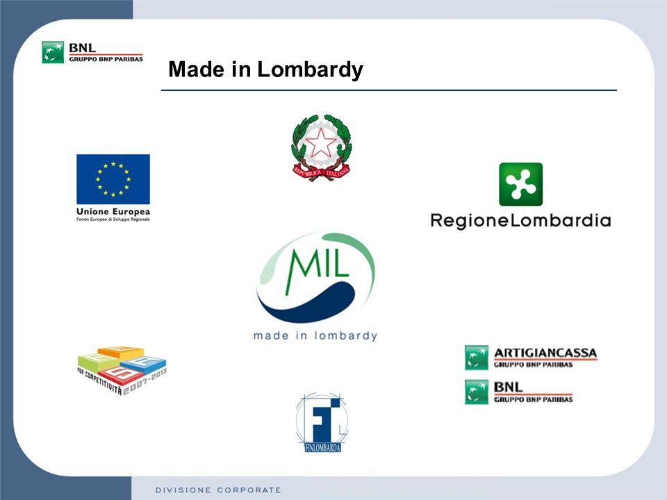 Limpegno del Gruppo… Con Made in Lombardy, BNL Gruppo BNP Paribas ha inteso ampliare il già vasto perimetro di iniziative che la vedono coinvolta a livello nazionale nellaffiancare, in maniera concreta, le aziende nellattuale fase congiunturale.