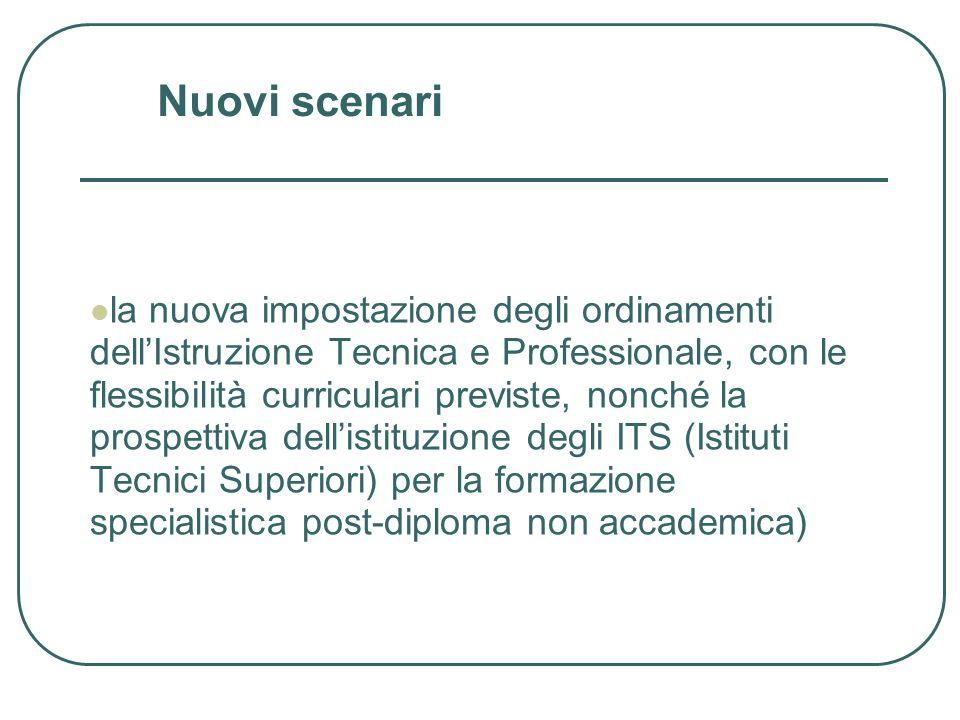 la nuova impostazione degli ordinamenti dellIstruzione Tecnica e Professionale, con le flessibilità curriculari previste, nonché la prospettiva dellistituzione degli ITS (Istituti Tecnici Superiori) per la formazione specialistica post-diploma non accademica) Nuovi scenari
