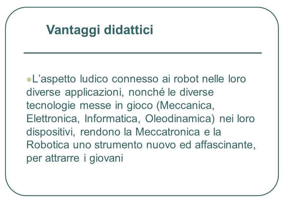 Laspetto ludico connesso ai robot nelle loro diverse applicazioni, nonché le diverse tecnologie messe in gioco (Meccanica, Elettronica, Informatica, O