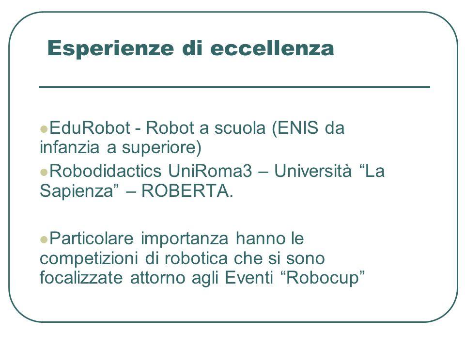 Esperienze di eccellenza EduRobot - Robot a scuola (ENIS da infanzia a superiore) Robodidactics UniRoma3 – Università La Sapienza – ROBERTA.