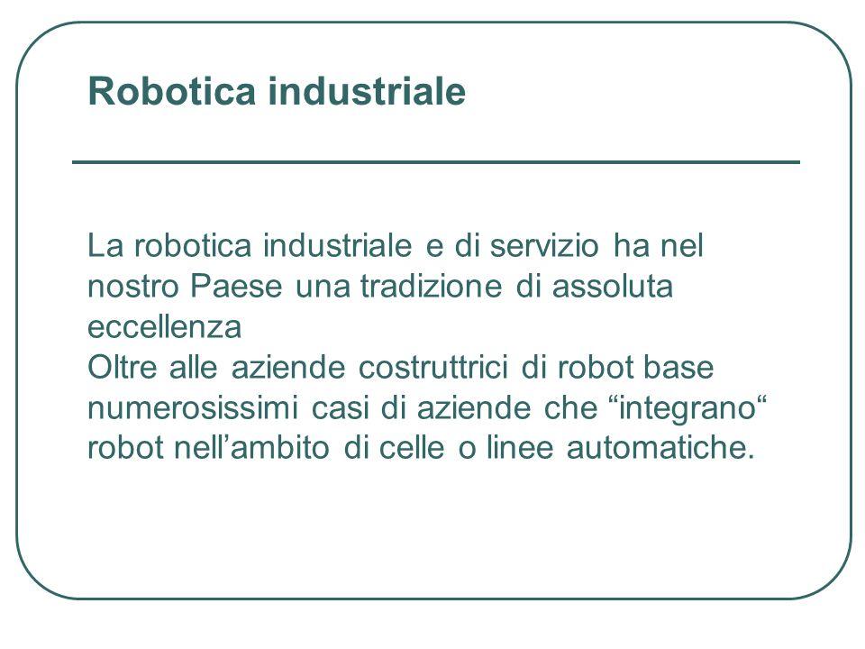 La robotica industriale e di servizio ha nel nostro Paese una tradizione di assoluta eccellenza Oltre alle aziende costruttrici di robot base numerosissimi casi di aziende che integrano robot nellambito di celle o linee automatiche.