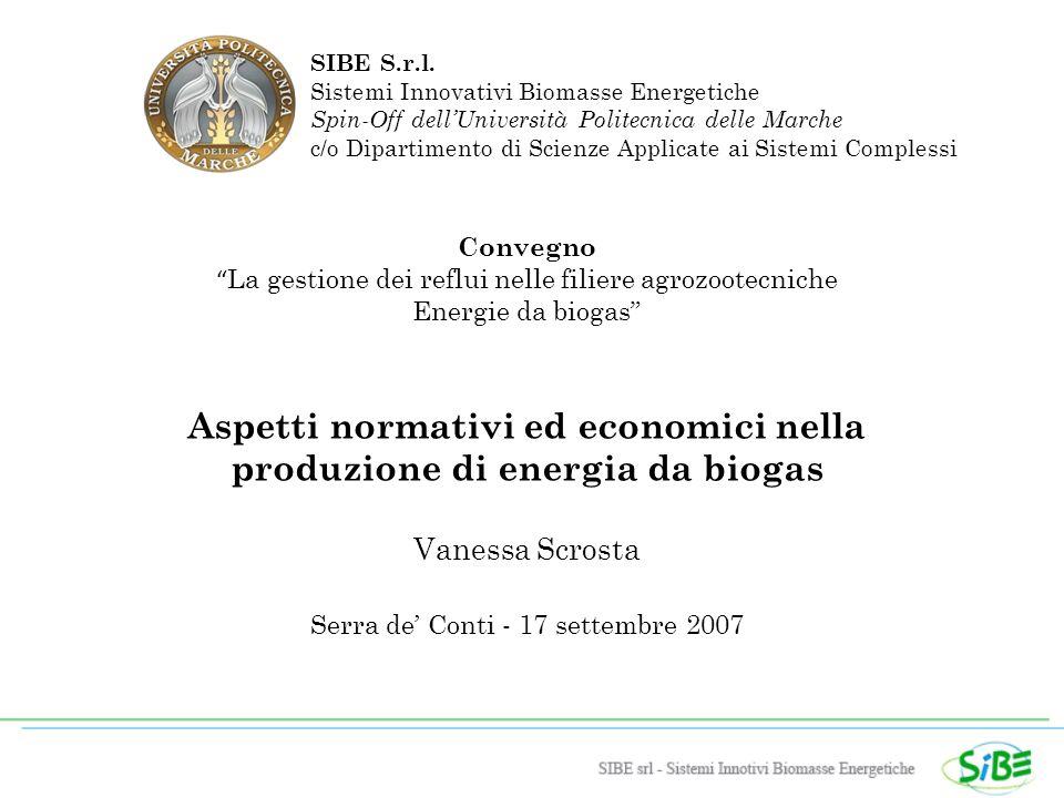Convegno La gestione dei reflui nelle filiere agrozootecniche Energie da biogas Aspetti normativi ed economici nella produzione di energia da biogas Vanessa Scrosta Serra de Conti - 17 settembre 2007 SIBE S.r.l.