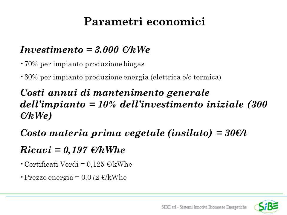 Parametri economici Investimento = 3.000 /kWe 70% per impianto produzione biogas 30% per impianto produzione energia (elettrica e/o termica) Costi annui di mantenimento generale dellimpianto = 10% dellinvestimento iniziale (300 /kWe) Costo materia prima vegetale (insilato) = 30/t Ricavi = 0,197 /kWhe Certificati Verdi = 0,125 /kWhe Prezzo energia = 0,072 /kWhe