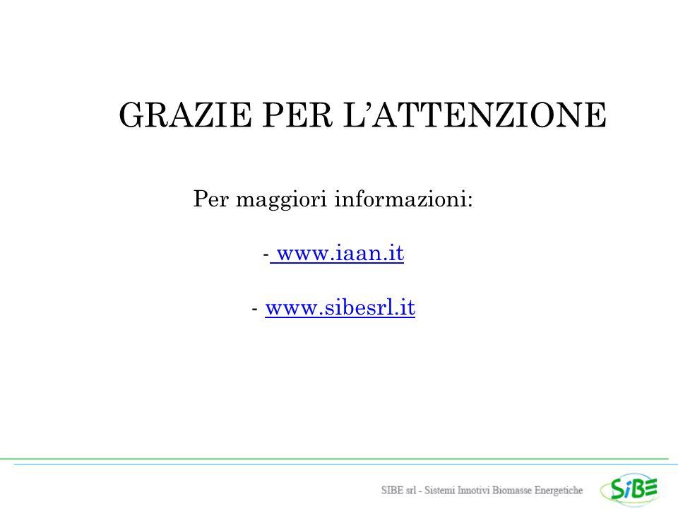 GRAZIE PER LATTENZIONE Per maggiori informazioni: - www.iaan.it www.iaan.it - www.sibesrl.itwww.sibesrl.it