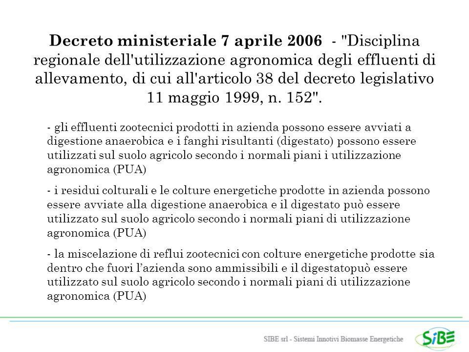 Decreto ministeriale 7 aprile 2006 - Disciplina regionale dell utilizzazione agronomica degli effluenti di allevamento, di cui all articolo 38 del decreto legislativo 11 maggio 1999, n.