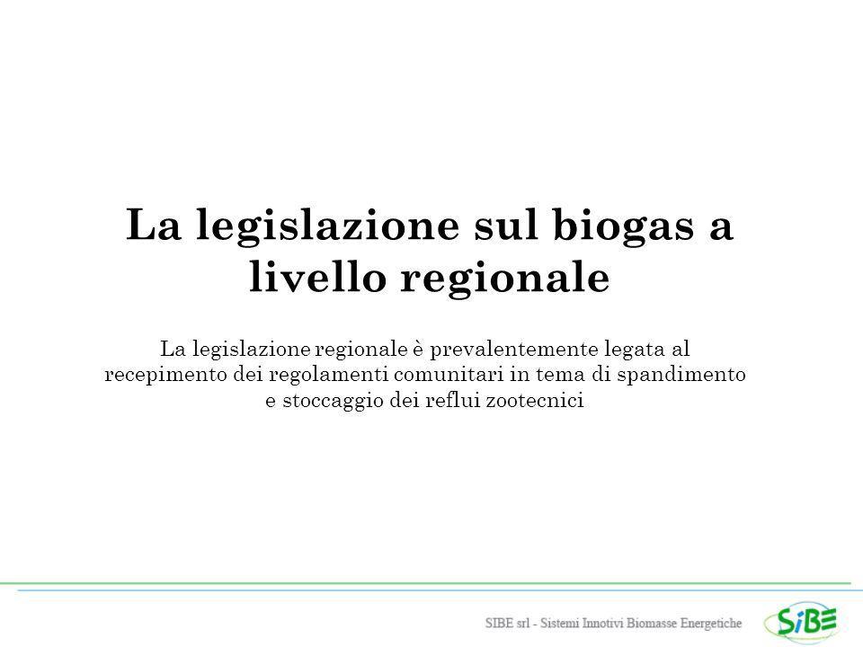 La legislazione sul biogas a livello regionale La legislazione regionale è prevalentemente legata al recepimento dei regolamenti comunitari in tema di spandimento e stoccaggio dei reflui zootecnici