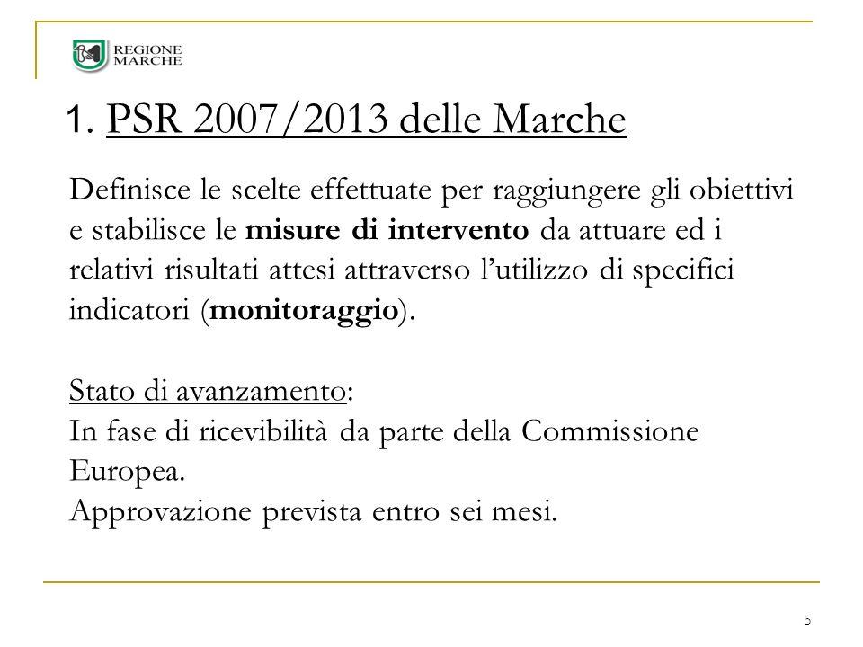 5 1. PSR 2007/2013 delle Marche Definisce le scelte effettuate per raggiungere gli obiettivi e stabilisce le misure di intervento da attuare ed i rela