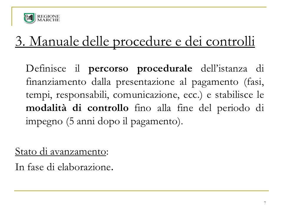 7 3. Manuale delle procedure e dei controlli Definisce il percorso procedurale dellistanza di finanziamento dalla presentazione al pagamento (fasi, te