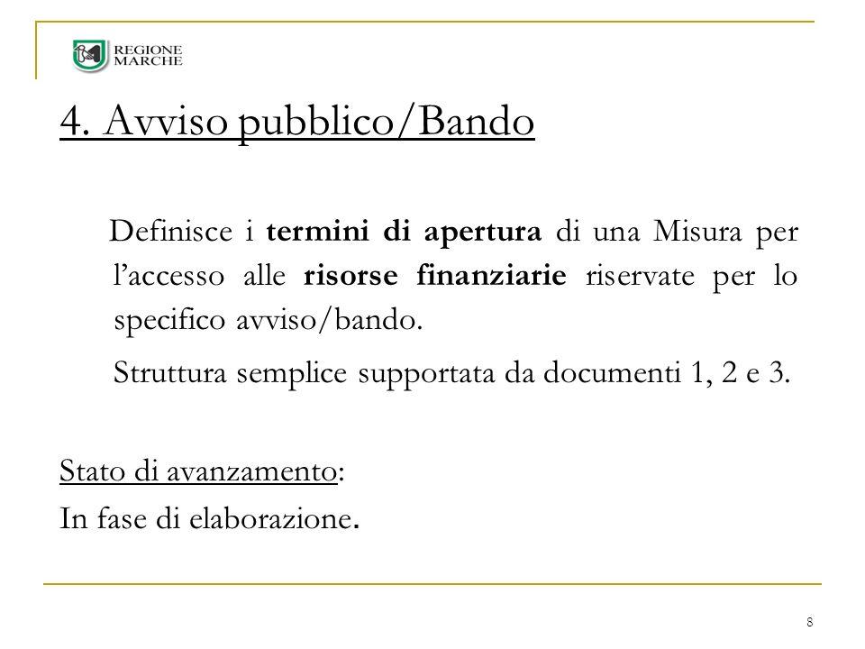 8 4. Avviso pubblico/Bando Definisce i termini di apertura di una Misura per laccesso alle risorse finanziarie riservate per lo specifico avviso/bando